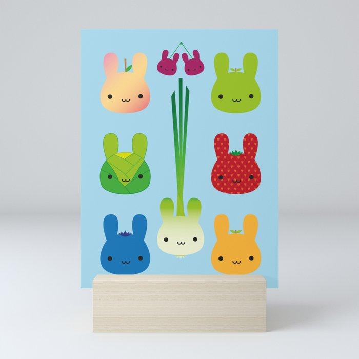 Kawaii Bunny Fruit & Vegetables Mini Art Print