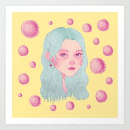 Pink bubbles - colored version Art Print