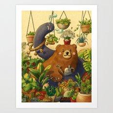Garden Bear Art Print