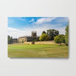 England Merton College Oxford University Fence Lawn Cities Metal Print