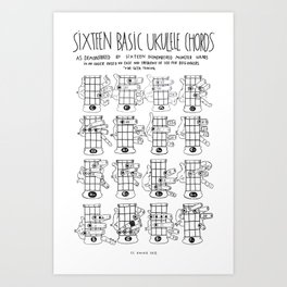 k.w.ink Ukulele Chords Chart: 16 Basic Ukulele Chords  Art Print