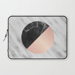 Carrara Italian Marble Black and Pink Laptop Sleeve