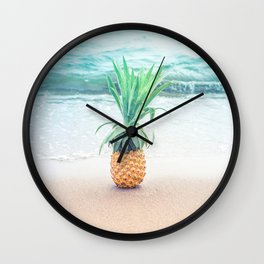 Happy Pineapple Wall Clock