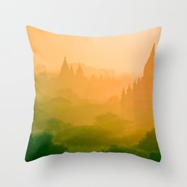Asian Landscape and Forest Filled with Fog Throw Pillow