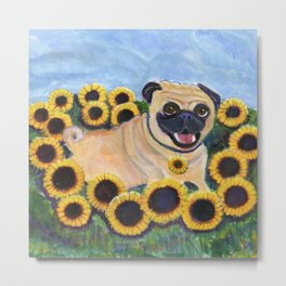 Pug in Sunflowers Metal Print