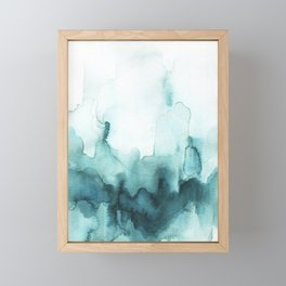 Soft teal abstract watercolor Framed Mini Art Print