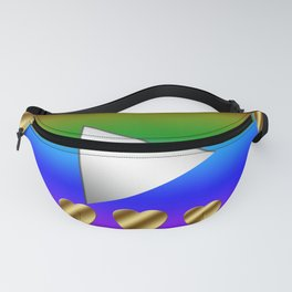 Video play button with colorful rainbowcolor! The metallic heart symbol is beautiful. Fanny Pack