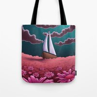 pushing daisies Tote Bags featuring Pushing Daisies by slewisillustration