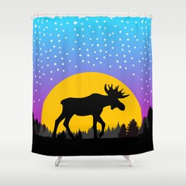 Moose Moon Light Pink and Light Blue Shower Curtain