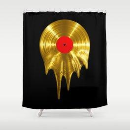 Melting vinyl GOLD / 3D render of gold vinyl record melting Shower Curtain