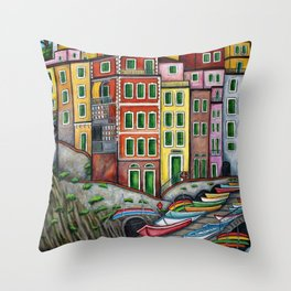 Colours of Riomaggiore Throw Pillow