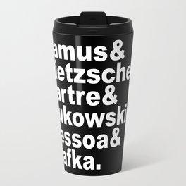 Camus& Nietzsche& Sartre& Bukowski& Pessoa& Kafka. White on Black Travel Mug