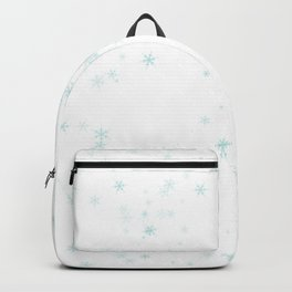 Blue snowflakes on white background Backpack