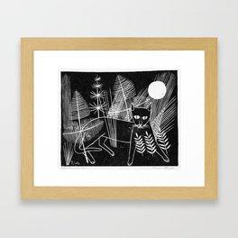 Cat Block Print Framed Art Print