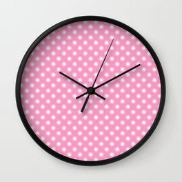 PINK WITH WHITE STARS Wall Clock