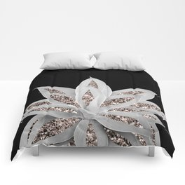 Gray Agave with Rose Gold Glitter #2 #shiny #tropical #decor #art #society6 Comforters