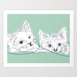 mint kittens 02 Art Print