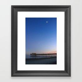 Moon over Tybee Island Pier Framed Art Print