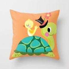 happy turtle Throw Pillow