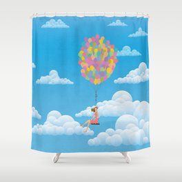 Balloon Girl Shower Curtain