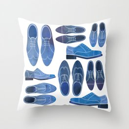 Blue Brogue Shoes Throw Pillow