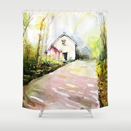 Beautiful Cottage Garden Painting Shower Curtain