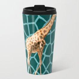 African Giraffe on Blue Camouflage Travel Mug
