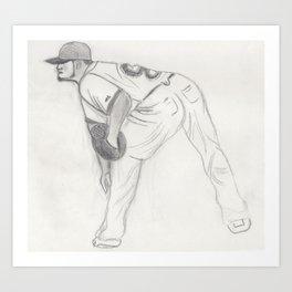 Baseball Player Pitching Art Print