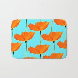 Poppies On A Turquoise Background #decor #society6 #buyart Bath Mat