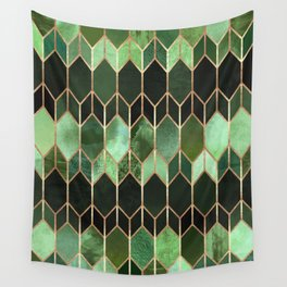 Stained Glass 5 - Forest Green Wall Tapestry