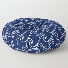 Rough Sea Pattern - white on navy blue Floor Pillow