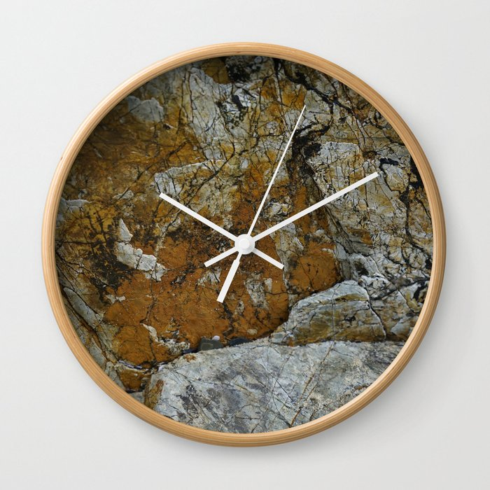 Cornish Headland Cracked Rock Texture with Lichen Wall Clock
