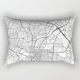 Raleigh Map, USA - Black and White Rectangular Pillow