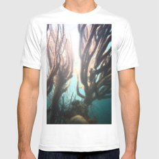 Deep Blue Reef White Mens Fitted Tee MEDIUM