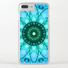 Blue mandala with floral ornament Clear iPhone Case