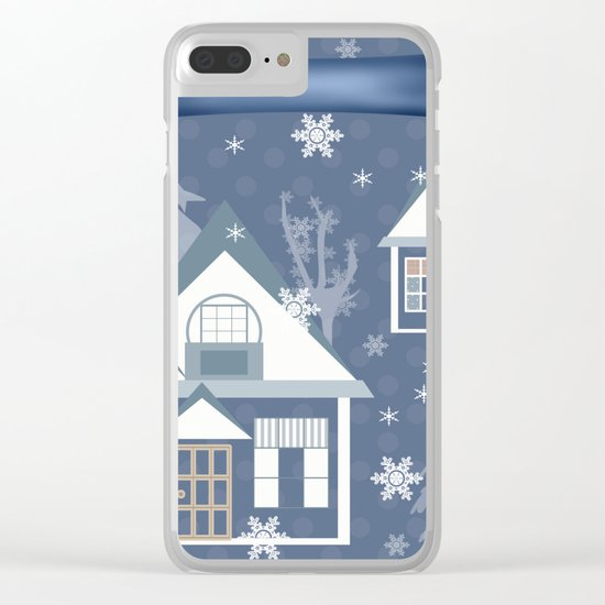 "A series of ""Covers for notebooks"" . Winter . Christmas holidays . Clear iPhone Case"