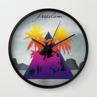 freedom Wall Clocks featuring freedom by mark ashkenazi