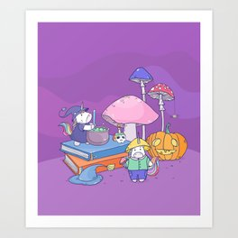 Unicorn Witch and Mushroomer in the Fairy forest Art Print