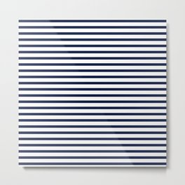 Navy Blue Nautical Stripes Minimal Metal Print