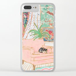 Catnap - Tuxedo Cat Napping in Chair by the Window Clear iPhone Case