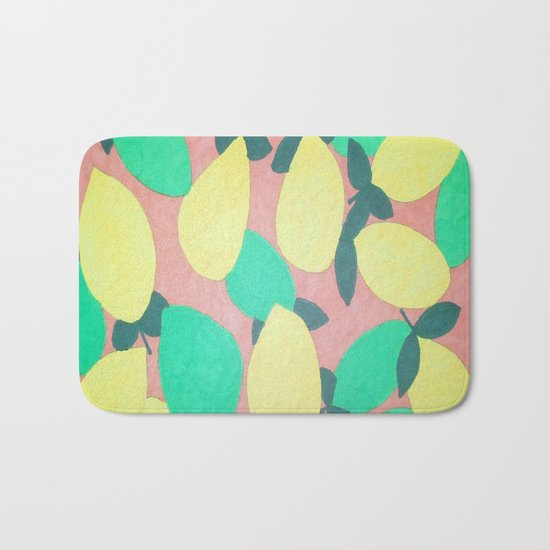 Lemony Fresh Citrus Pattern Bath Mat