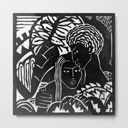 Couple Embracing - Vintage Block Print Metal Print