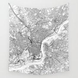 Philadelphia White Map Wall Tapestry