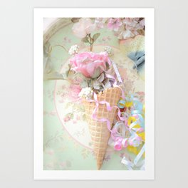 Cottage Roses Ice Cream Waffle Cone Decor Art Print