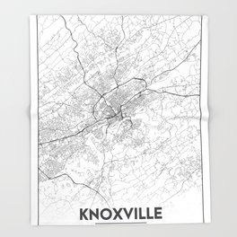Minimal City Maps - Map Of Knoxville, Tennessee, United States Throw Blanket