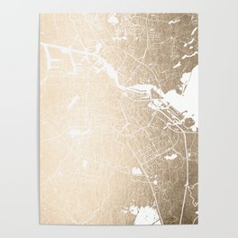 Amsterdam Gold on White Street Map II Poster