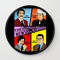 will ferrell Wall Clocks featuring The Newsteam - Anchorman by Buby87