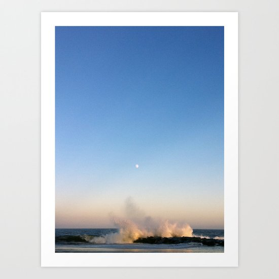 Beach with Full Moon Art Print
