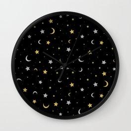 Starry Night Moon and Stars Galaxy Wall Clock