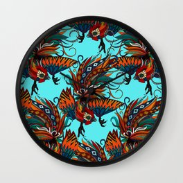 rooster ink turquoise Wall Clock